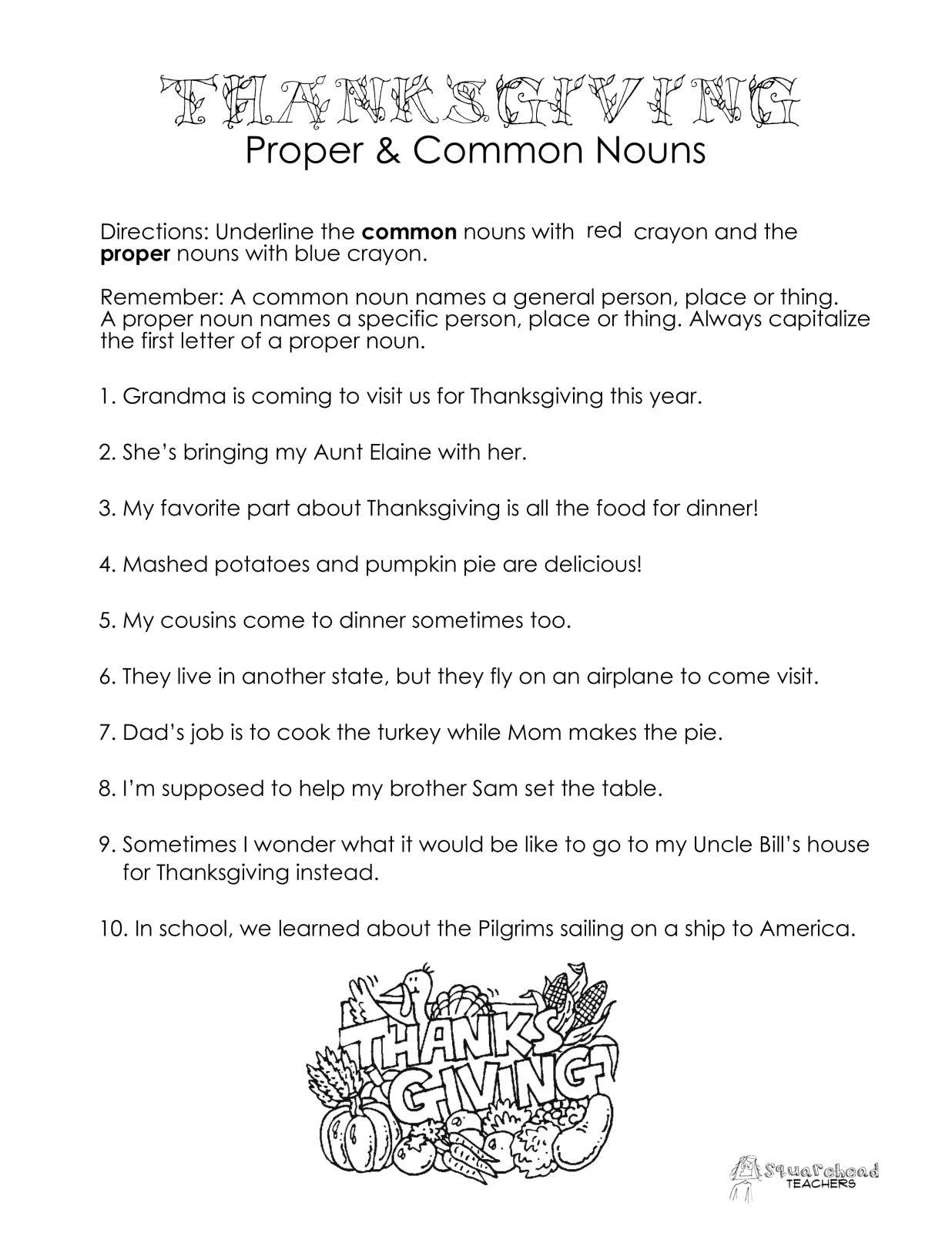 Thanksgiving Common vs. Proper Nouns worksheet | Proper ...