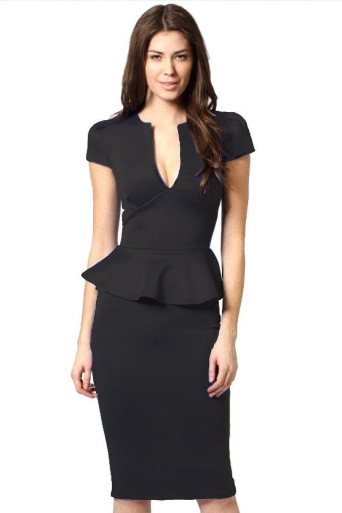 0048f82698 made2envy Bodycon Midi (Knee Length) Peplum Dress with V Shape Neckline
