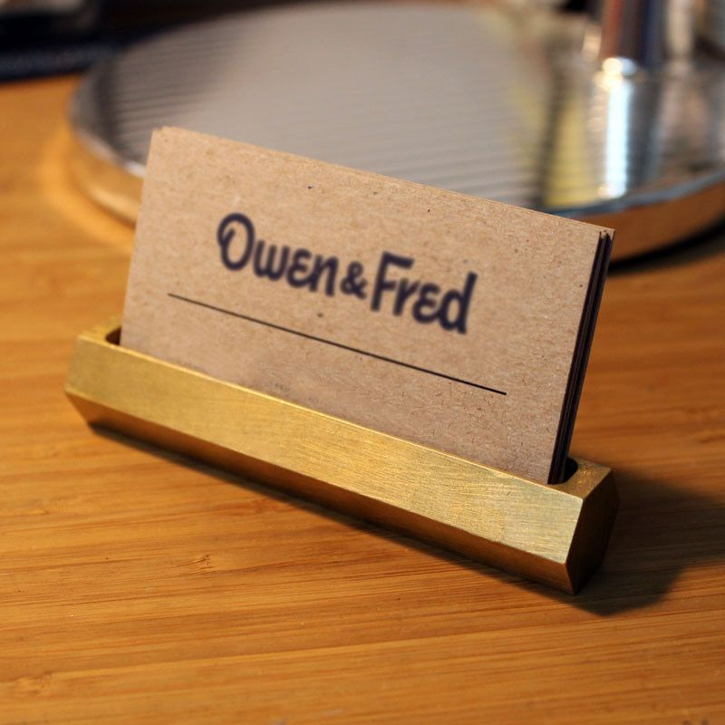 Hex Brass Business Card Holder | Business card holders, Office ...