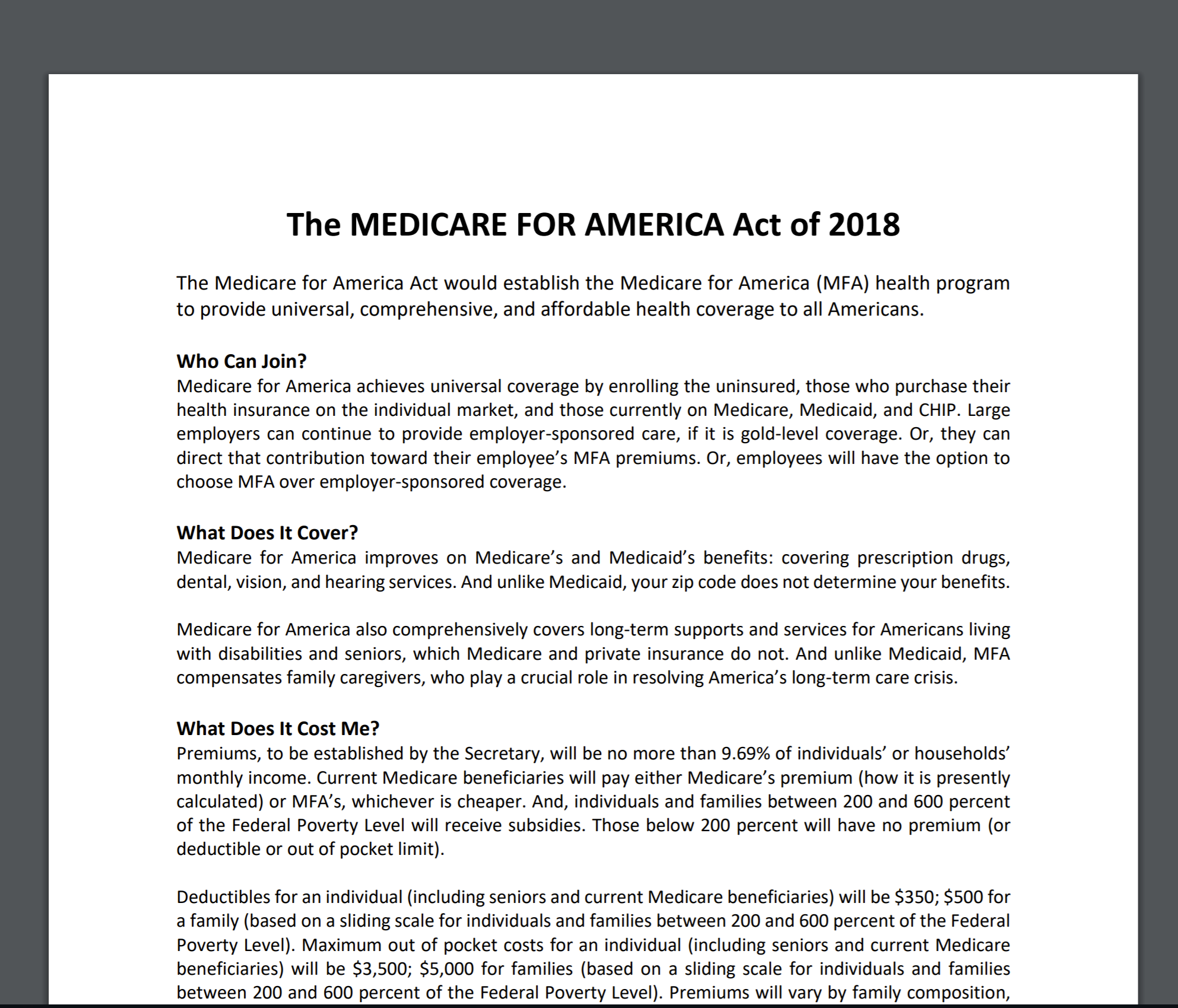 The Medicare for America Act is a counter proposal to