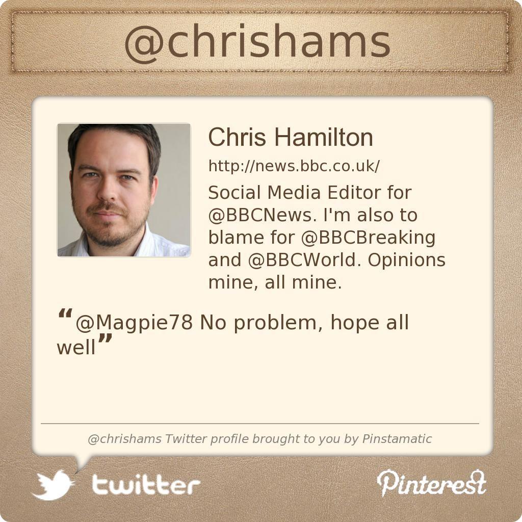 @chrishams's Twitter profile courtesy of @Pinstamatic (http://pinstamatic.com)