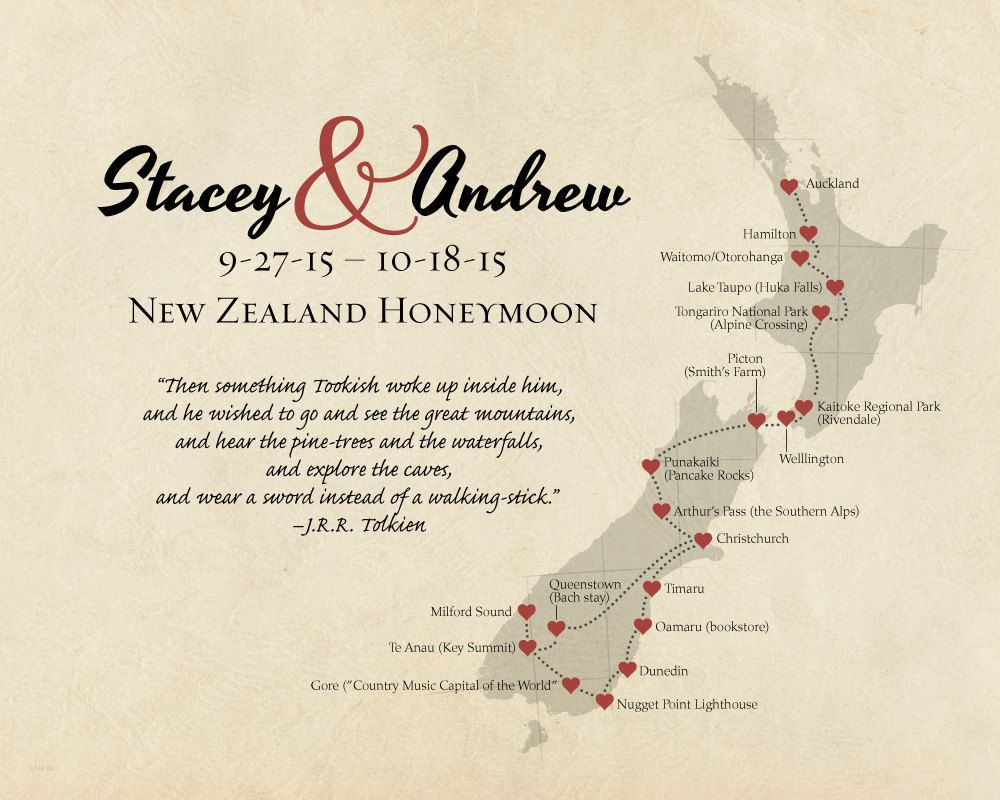 New Zealand Map Print Personalized Anniversary Gift Travel Gift