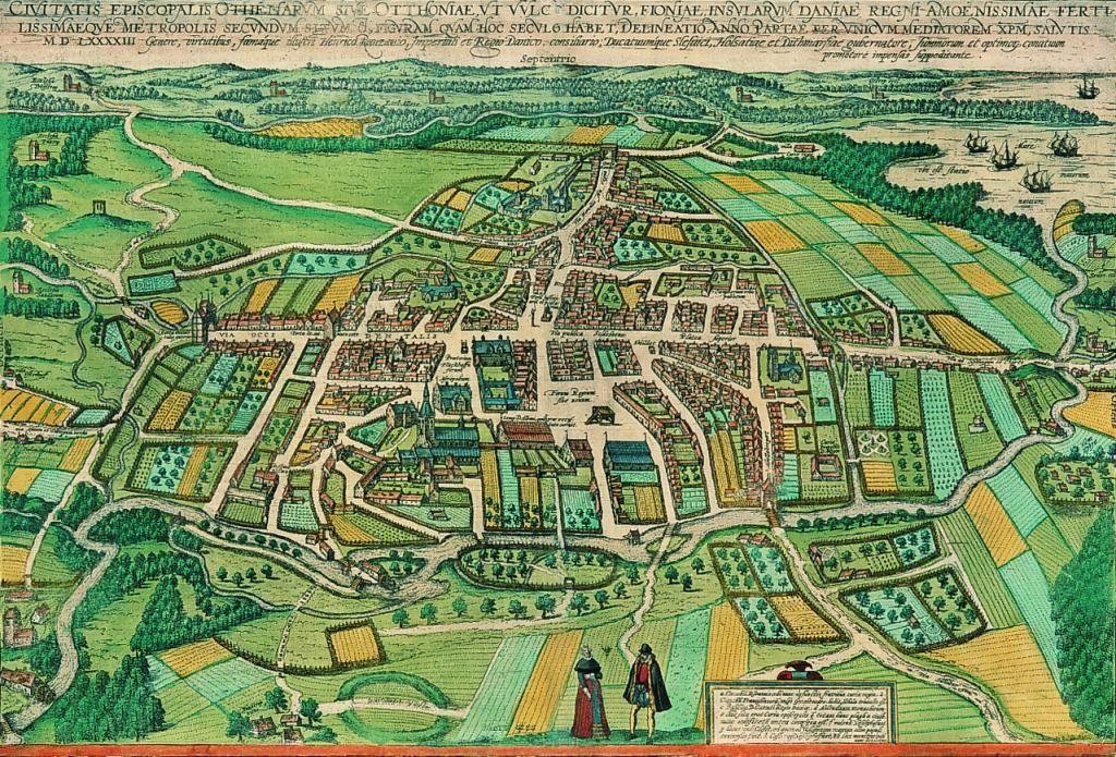 Brauniuskortet Fra 1593 Det Aeldste Kort Over Odense Byen Ses