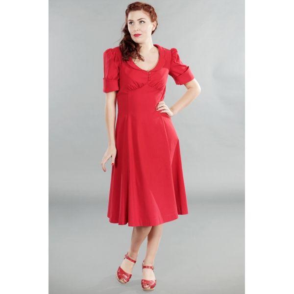 503f2936bc Delizioso vestito rosso in stile lindy hop, con scollo arrotondato e ...