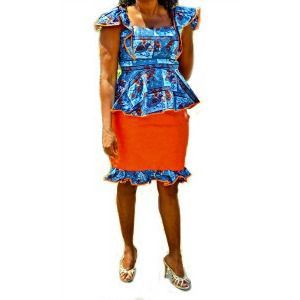 African Ankara And Bazin Blue And Orange Skirt Suit, African And Bazin Dress