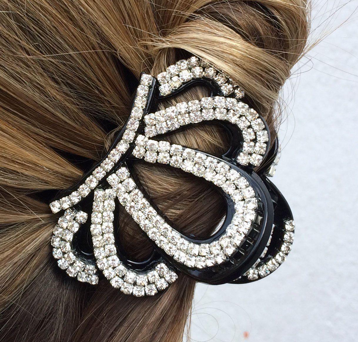 crystal hair clip diamante hair claw clip crown hair clip