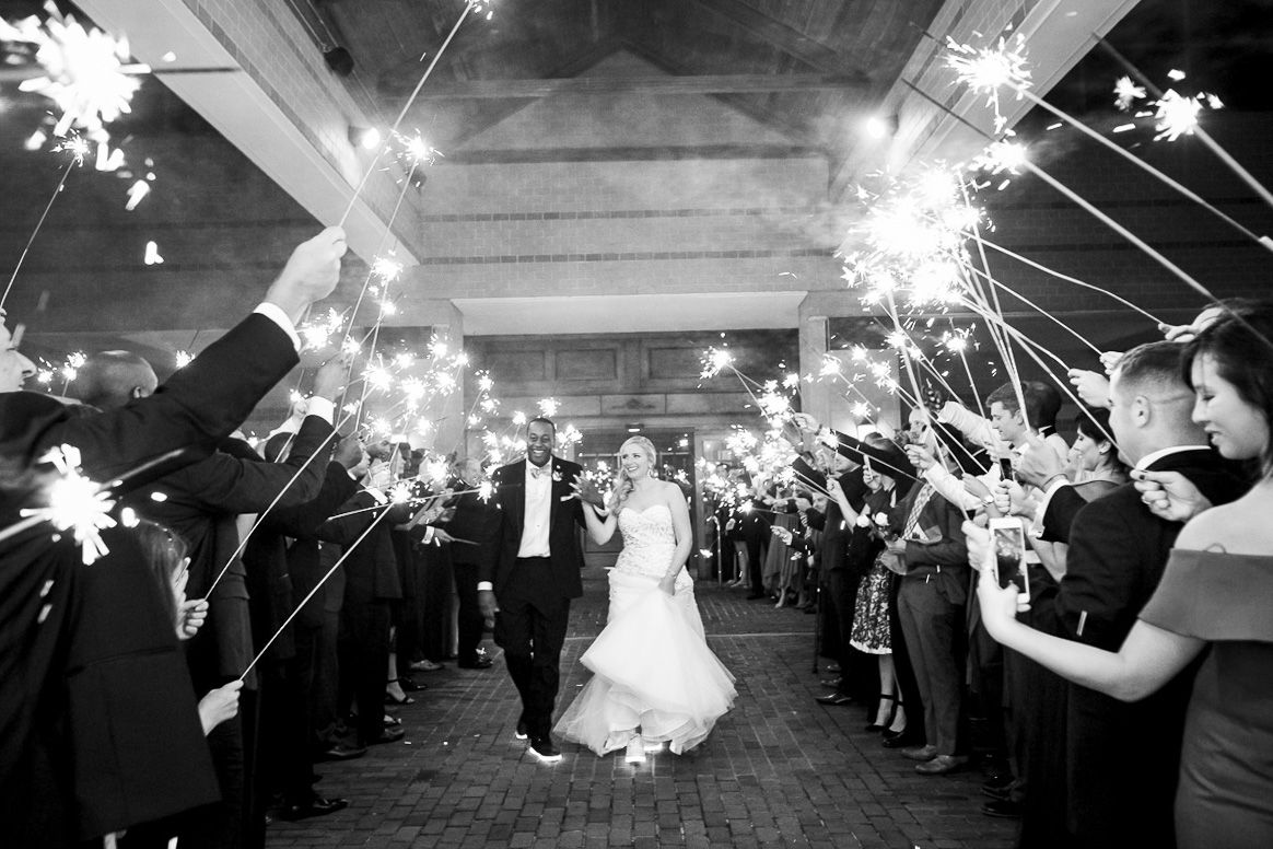 Bride and groom sparkler exit at the desmond hotel by krista patton