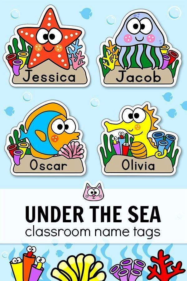Theme - Name Tags Labels - Under the Sea Theme Classroom Decor -   -Ocean Theme - Name Tags Labels