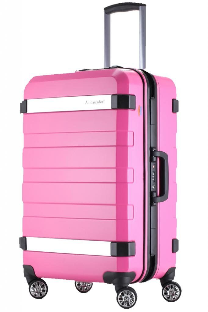 a5491e8b0b0 Ambassador Luggage 25 inch Medium Trip Suitcase Spinner Travel Pink ...