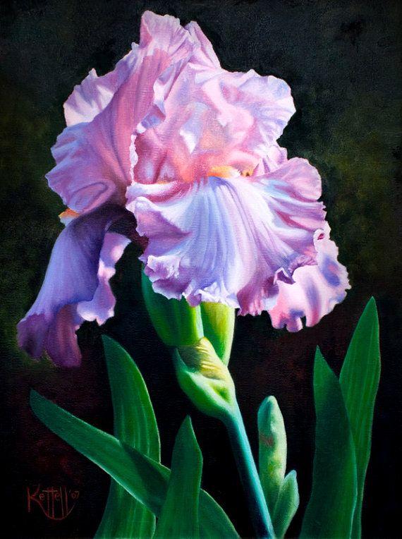 Purple Iris Flower Fine Art Print Floral Painting