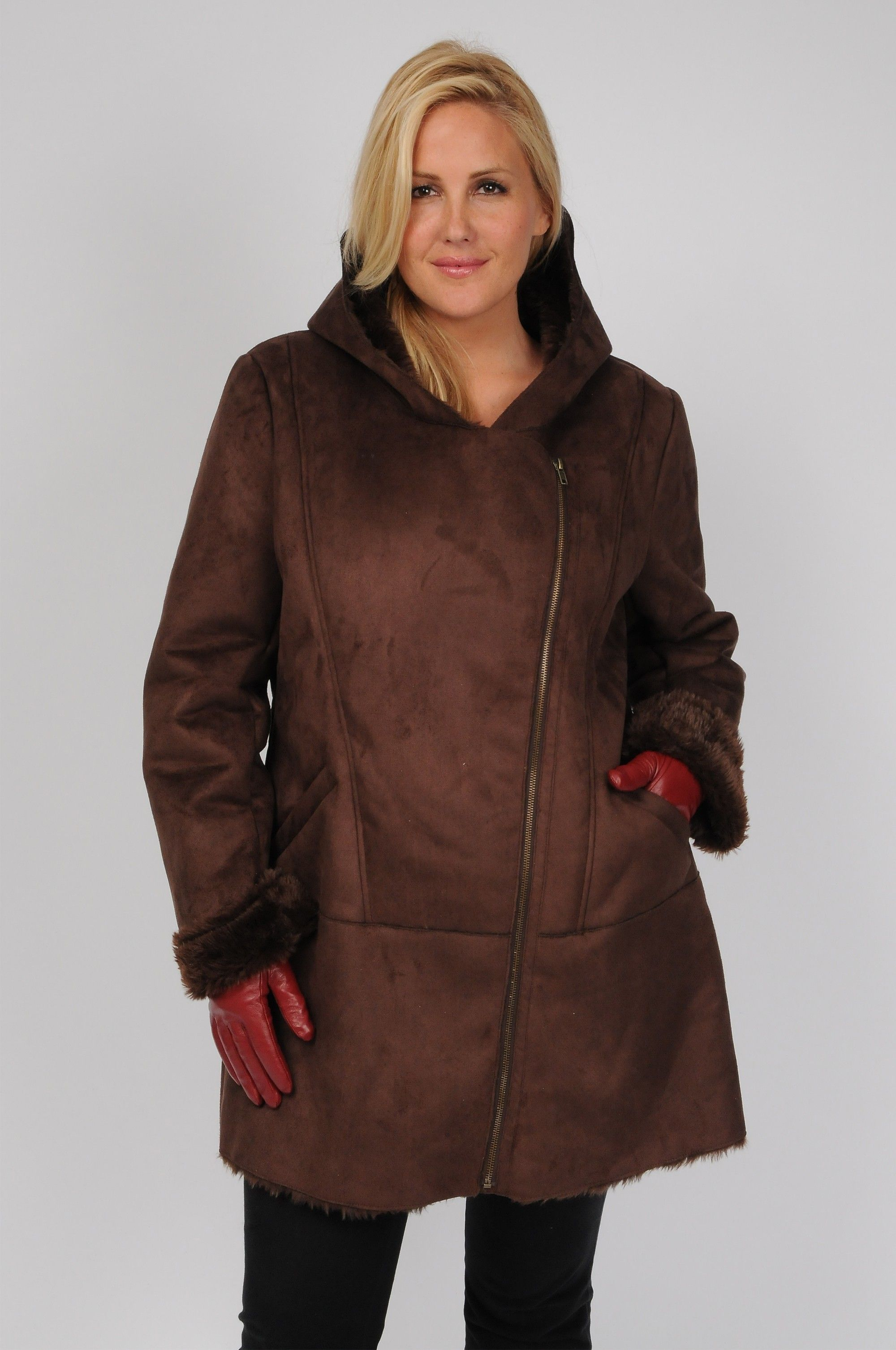 Plus Size Excelled Hooded Faux-Shearling Jacket