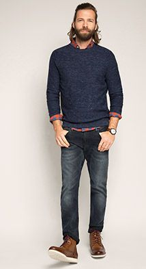 Esprit / Gemêleerde, fijngebreide trui, 100% katoen