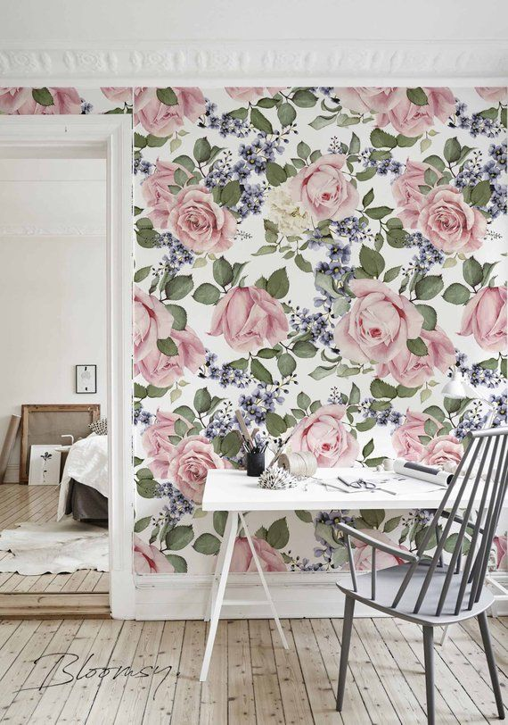 Removable Wallpaper Pink Roses Fl Temporary Wall Covering