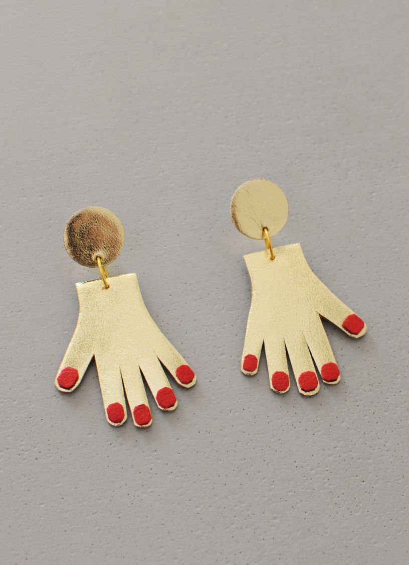 3a8f45b5b6cb Gold and red leather hand earrings