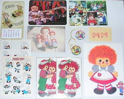 Lot of Vintage Raggedy Ann & Andy Ephemera: Postcards, Stickers, Tags, Misc.