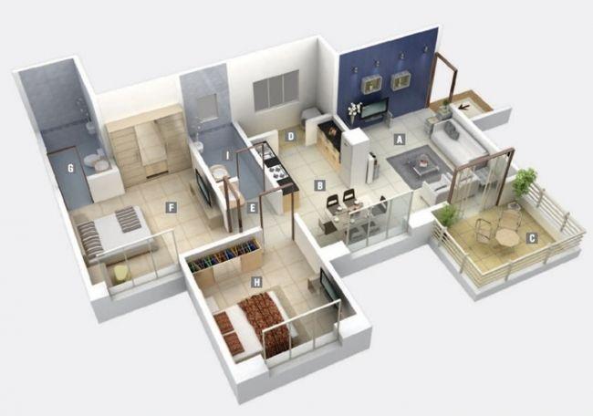 50 Plans 3d D Appartement Avec 2 Chambres Plan Maison 150m2 Plan Maison 90m2 Plan Maison