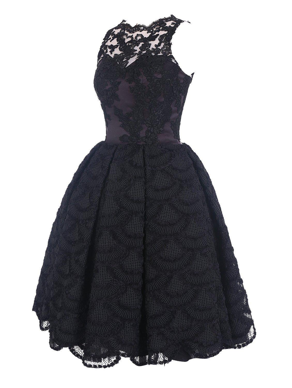 Find Dress Damen Runde Ausschnitt Spitze Kurz Cocktailkleid ...