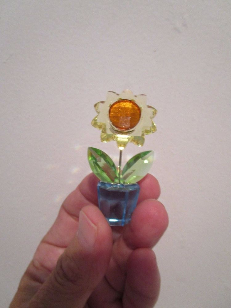 f74a77901 Swarovski Crystal Sunflower in Blue Pot Retired Mint Condition ...