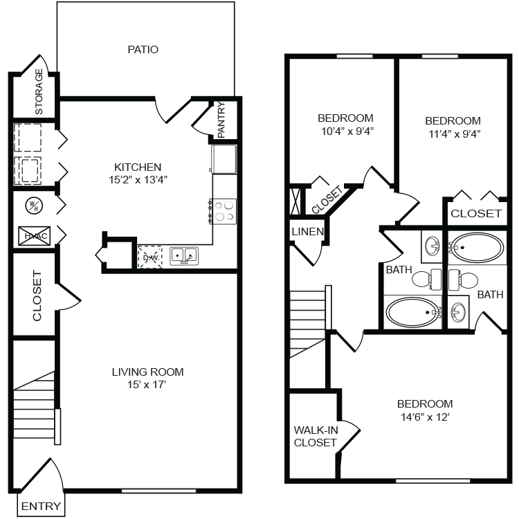 Forest Ridge Apartment Townhome In Fort Mill Sc 775 3 Br 2ba Patio Storage Bedroom Storage Floor Plans