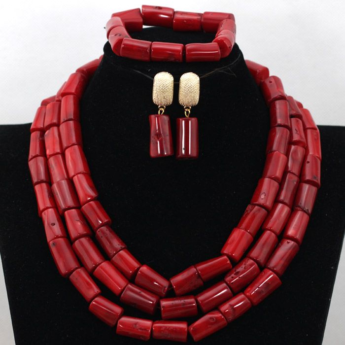 Fabulous Red Nigerian African Wedding Coral Beads Jewelry Set ...