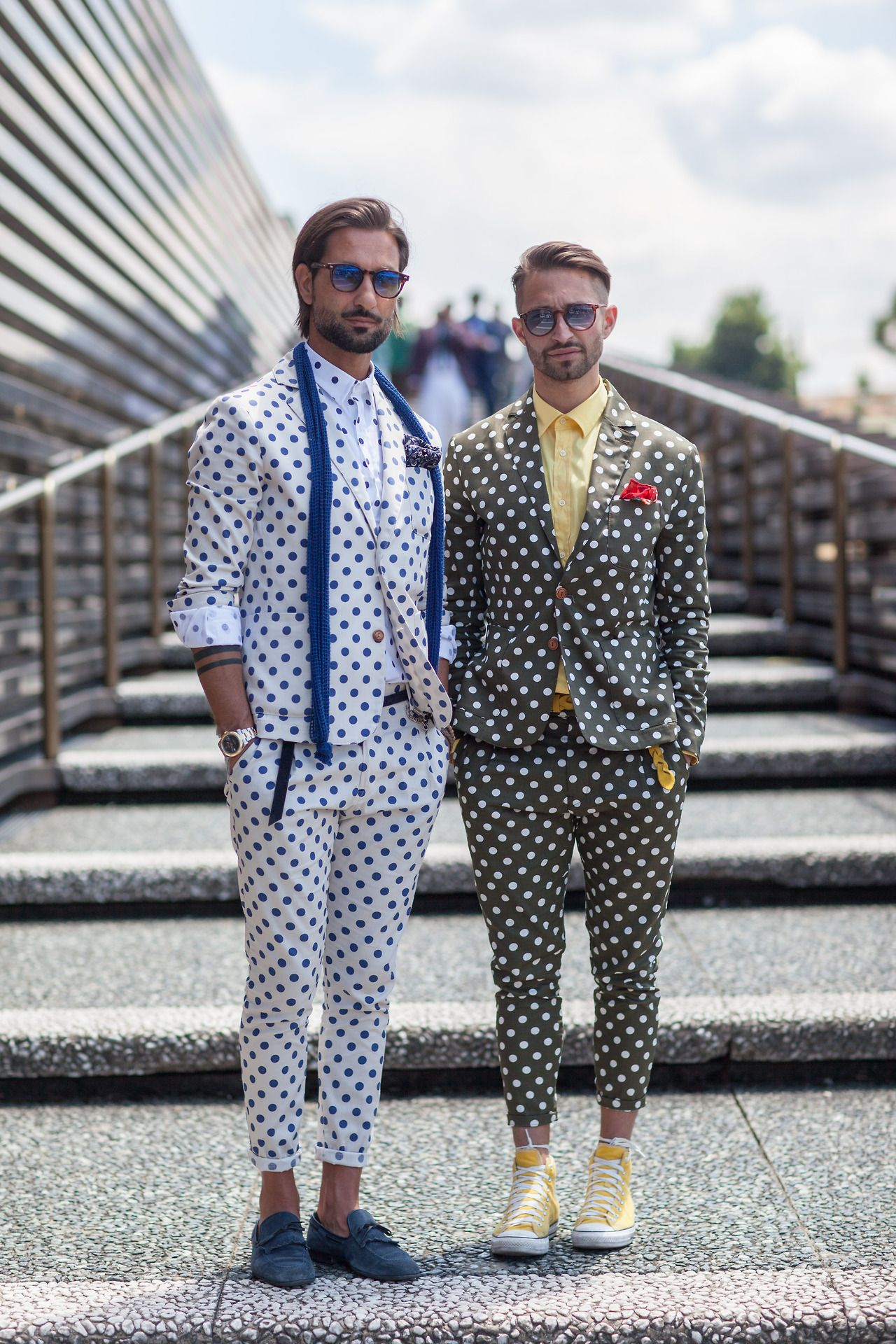 More coordinated pairings outside the Pitti Uomo trade show in Florence Szymon Brzóska for WGSN street shot, Pitti Uomo S/S 15