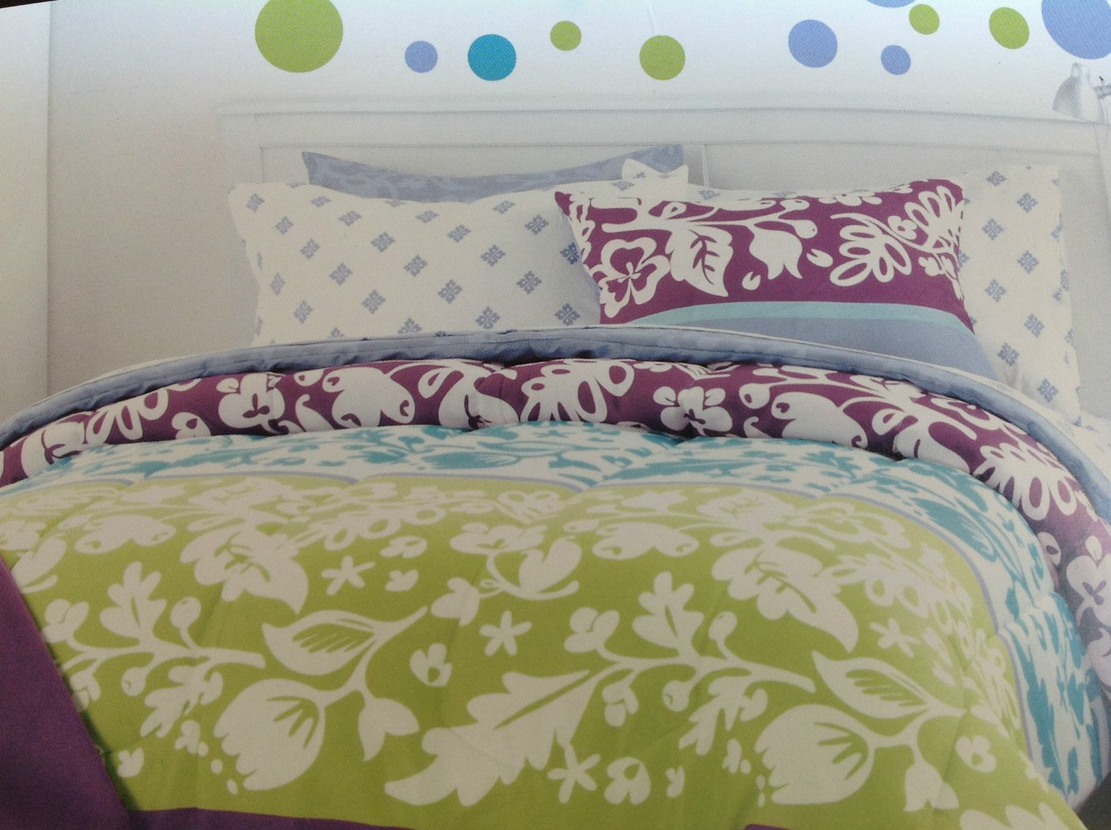 CYNTHIA ROWLEY Teal purple Lime TWIN XL DORM forter 9pc
