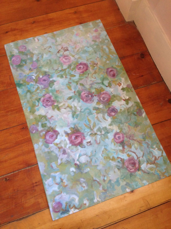 Misty Roses Floor Cloth Hand Painted Original
