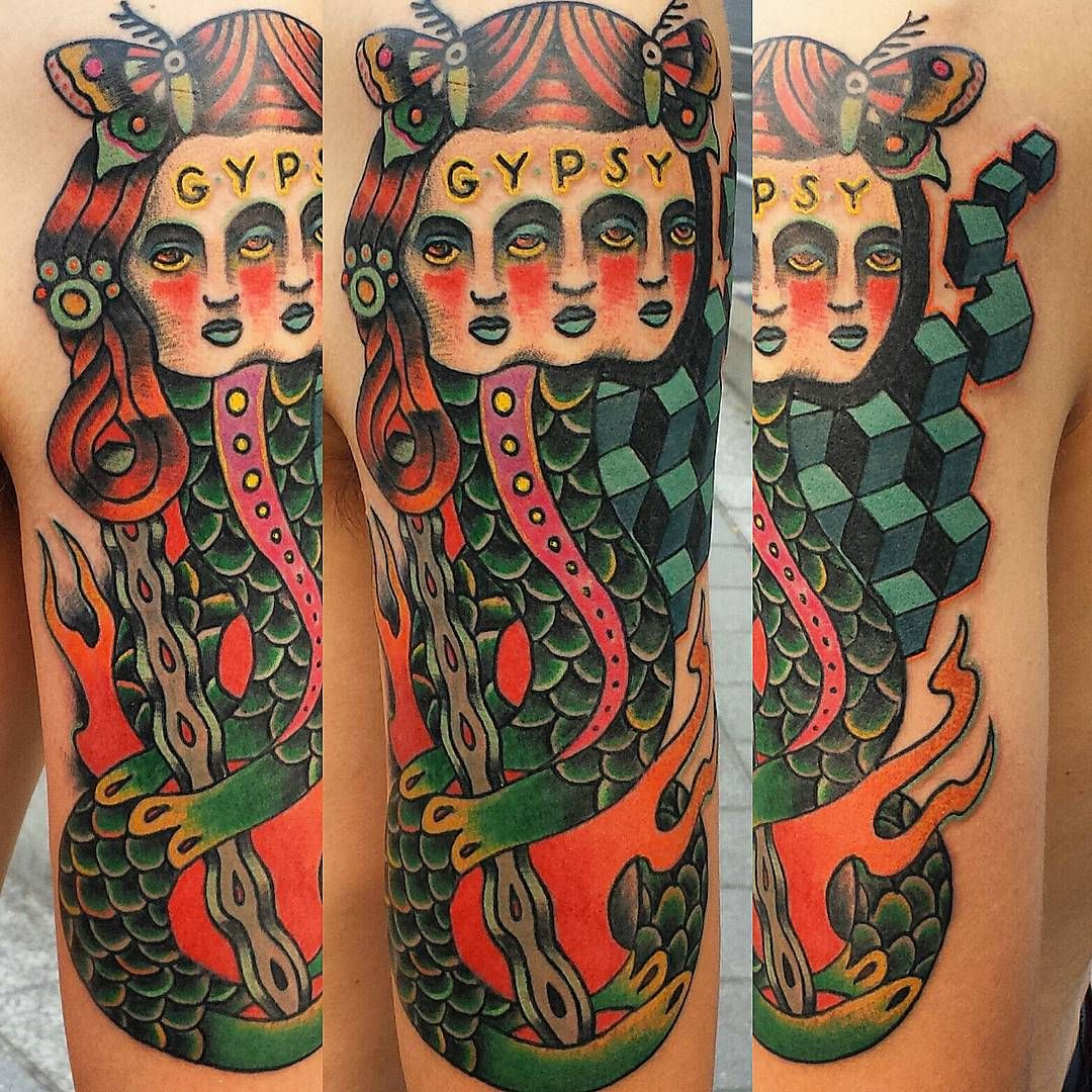 Neo Traditional geometric gypsy snake 3 headed lady by Mr Winter at American Ritual Tattoo and Wunderkammer Curiosity Shoppe Tacoma Wa