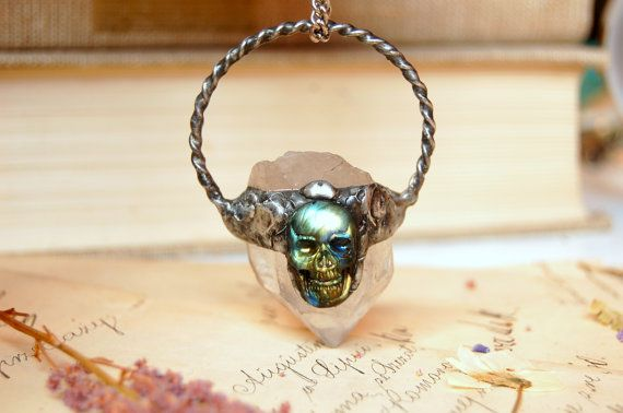 Reserved for LACEE - STAR CHILD - Raw quartz necklace, labradorite skull necklace, gemstone jewelry, crystal pendant, magic, labradorite