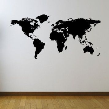 Large map of the world vinyl wall sticker stencil medium black large map of the world vinyl wall sticker stencil medium black amazon gumiabroncs Images