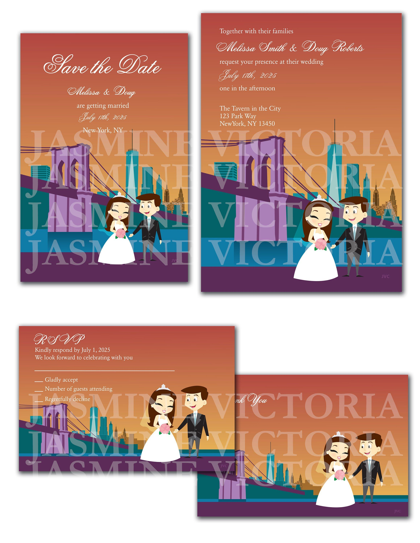 New York Destination Customize Cartoon Bride and Groom