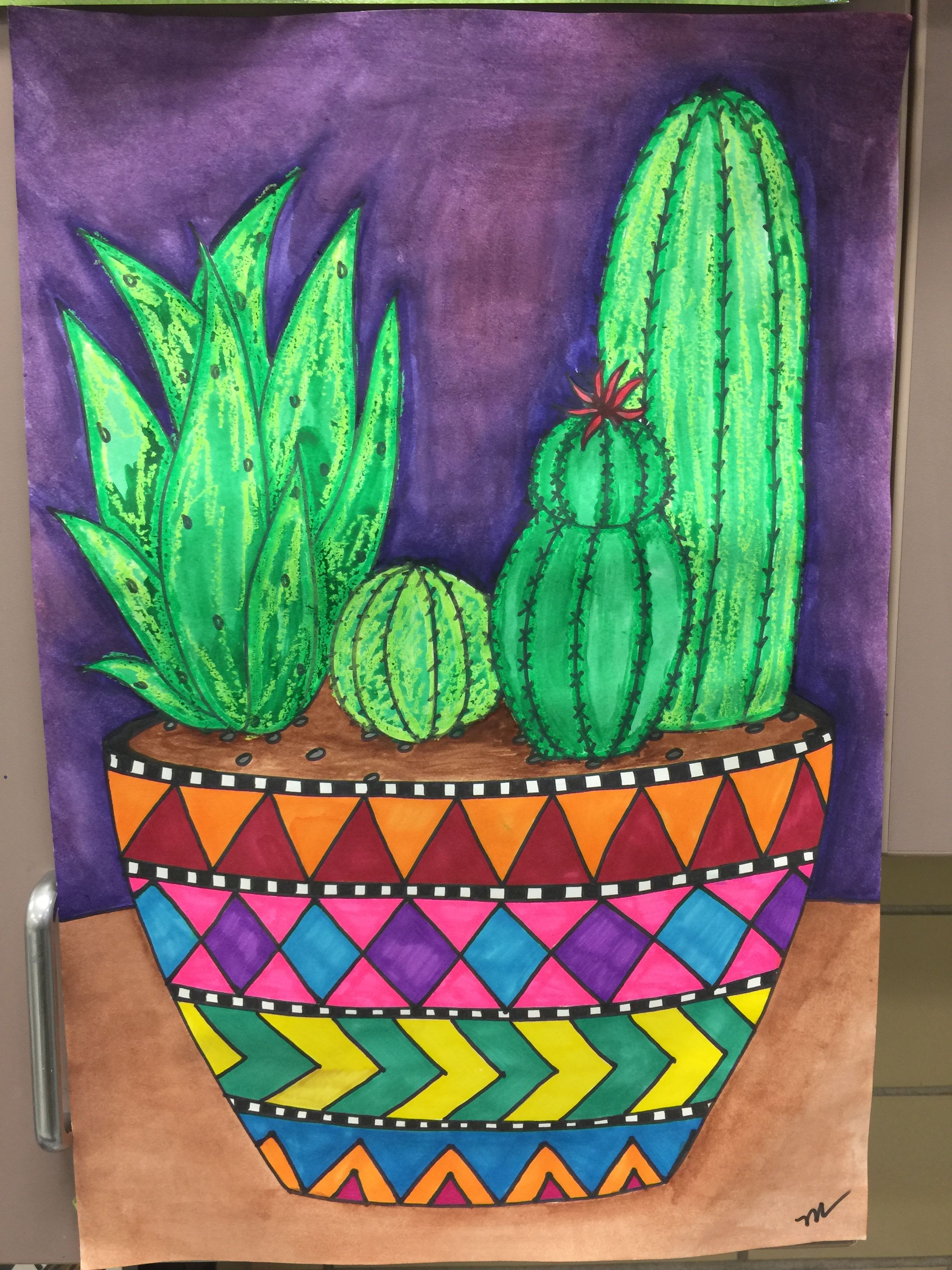 Potted Cactus Art Project For Grades 3 5 Created By