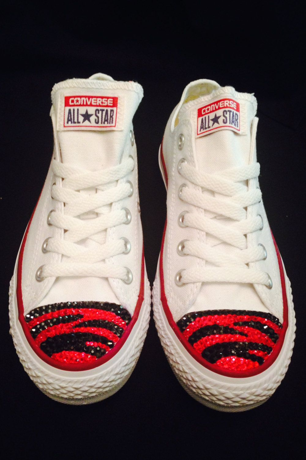 78400d625 Custom Swarovski All Star Converse Low White - Red and Black Tiger Stripes…