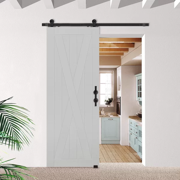 Paneled Manufactured Wood Primed Barncraft Barn Door Without Installation Hardware Kit Single Door Design Interior Barn Doors Wood Doors Interior