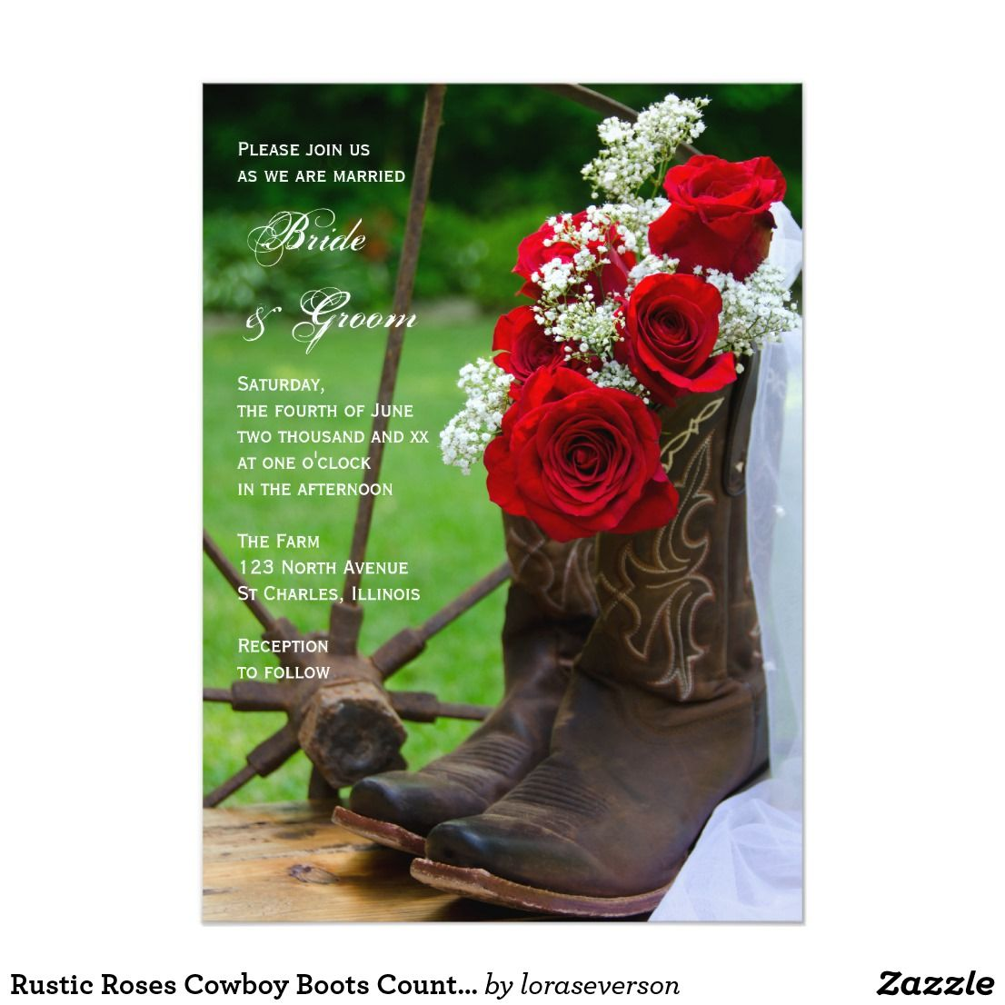 Rustic Roses Cowboy Boots Country Western Wedding Invitation ...