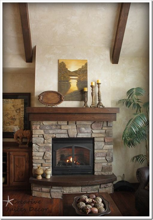 Rustic fireplace mantle i love the darker wood and the for Fireplace no mantle