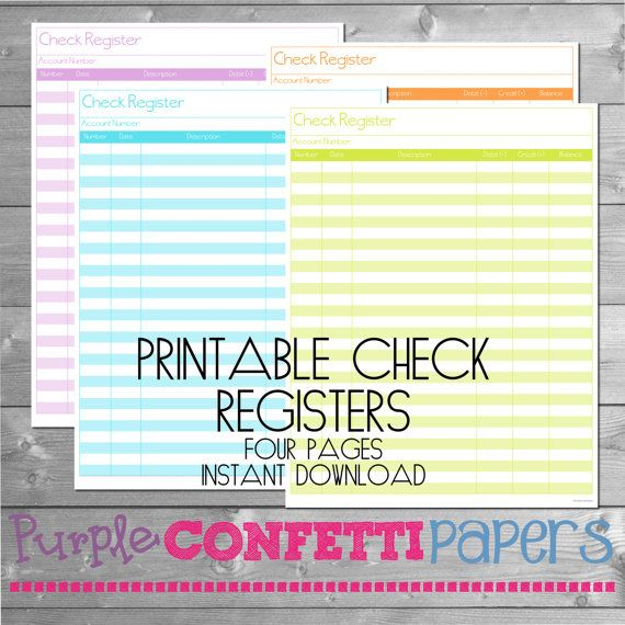 Printable Check Register Check Register Checking Register