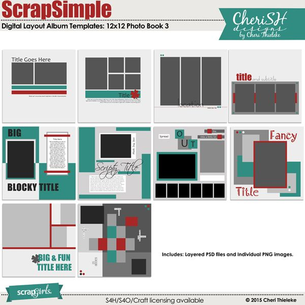 ScrapSimple Digital Layout Album Templates Photo Book 3 - free album templates