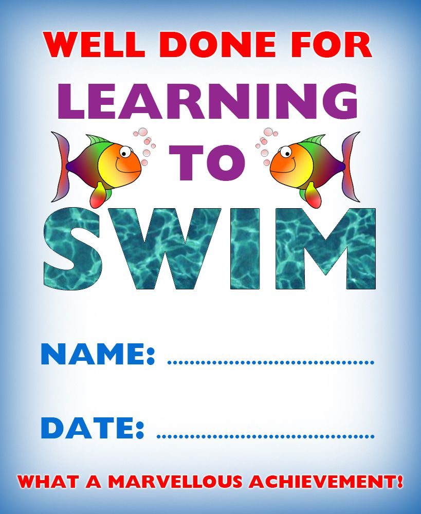 Kids certificate for learning to swim | swim | Pinterest | Swimming