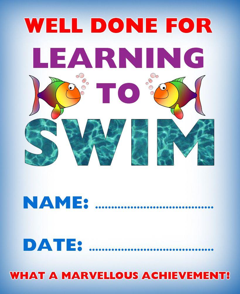 Kids Certificate For Learning To Swim Swim Pinterest Swim