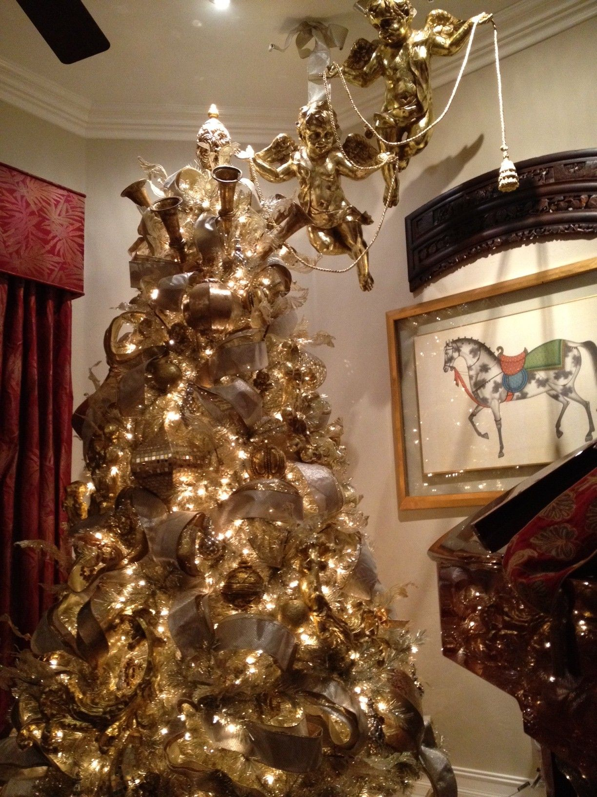 Gold Christmas tree Exquisite professional Christmas decor by ...