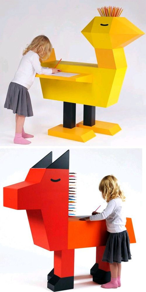 Pencil Holding Animal Desks Childrens, Small Childrens Furniture