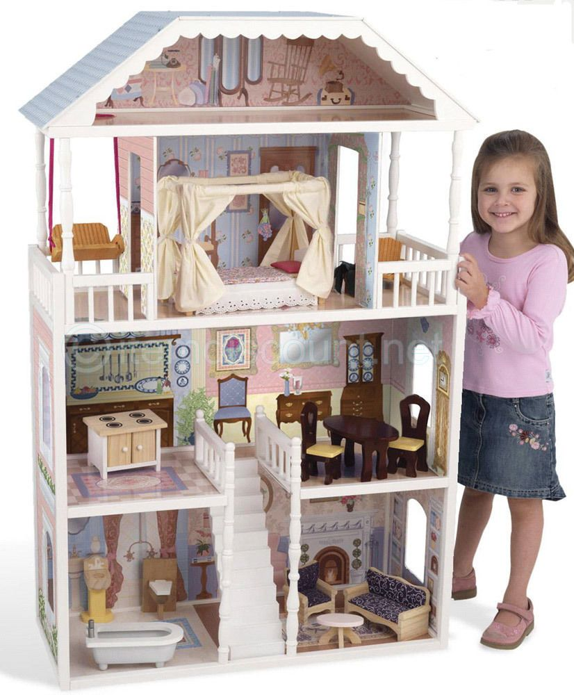 Kidkraft Savannah Dollhouse Furniture 12 Barbie Life Size Wooden S Play Set Dolls Bears Miniatures Doll Houses Ebay
