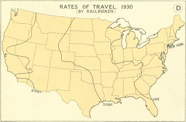 How Fast Could You Travel Across The US In The S - Map of the us in the 1800s