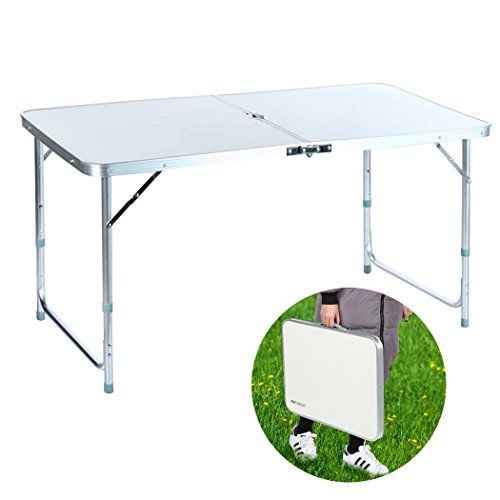 Fdegage 4ft Aluminum Outdoors Camping Portable Folding Table With Picnic Party Carrying Handle Small Table White White Small Table Folding Table Small Tables
