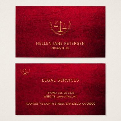 Lawyer Upscale Elegant Gold Ruby Red Leather Look Business Card Personalize Cyo D Business Cards Elegant Gold Foil Business Cards Professional Business Cards