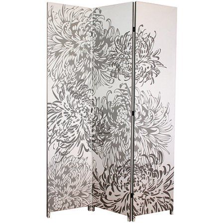 "Kiera Grace Bota Stretched Canvas Triple-Panel Floor Screen, Chrysanthemum, 47"" x 71"""
