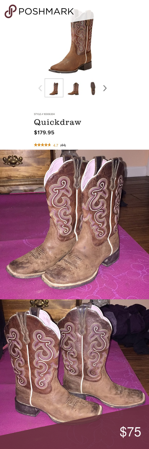 b353d3f9a46 Ariat QuickDraw Women s boots 7.5 Ariat QuickDraw Badlands Brown boots Size  7.5 Toe shape  wide square •comfortable (I wear an 8 and these are 7.5    fit ...