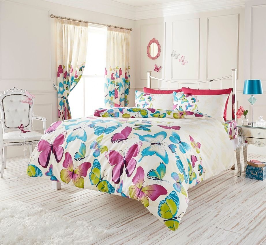 Elegant Purple Blue Butterfly Girls Bedding Full Queen King Duvet Cover Comforter Cover Set Bed Linens Luxury Duvet Bedding Duvet Covers