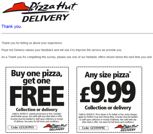 Pizza Hut Customer Feedback Survey WwwDidpizzahutdeliverCoUk